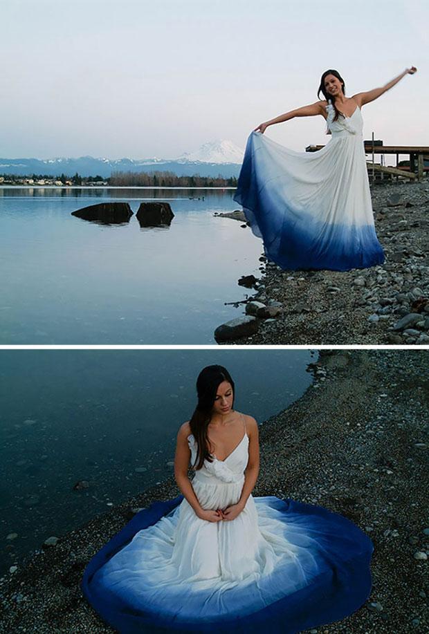 ชุดเจ้าสาวย้อมสีปลายกระโปรงสีน้ำเงิน