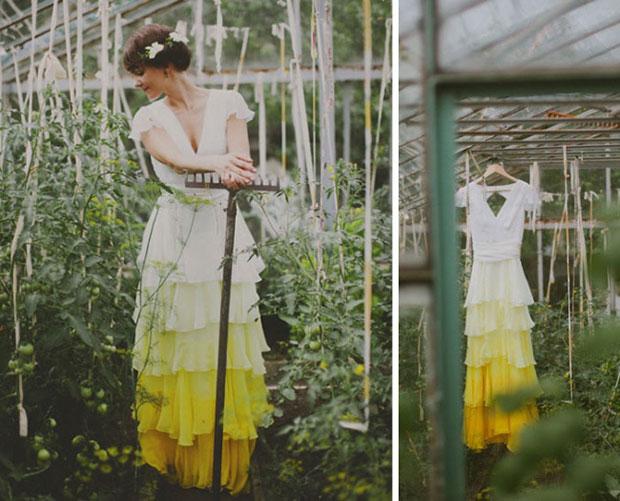 ชุดเจ้าสาวย้อมสีปลายกระโปรงสีเหลือง