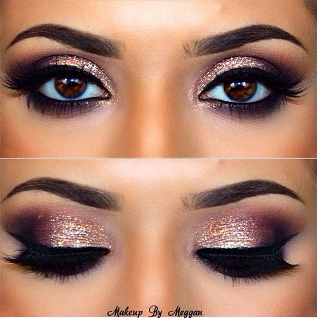 เฉดสีของดวงตาแบบลุคสดใสด้วยกลิตเตอร์และอายแชร์