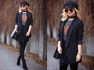 เสื้อสูท Romwe, เสื้อยืด Kik, กระโปรง DressLily, กระเป๋า SuperDodatki, รองเท้าบู๊ท Zara, หมวก TkMaxx