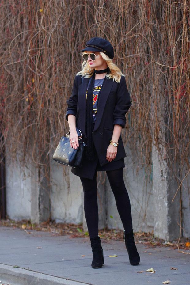 เสื้อสูท Romwe, เสื้อยืด Kik, กระโปรง DressLily, รองเท้าบู๊ท Zara, หมวก TkMaxx, กระเป๋า SuperDodatki