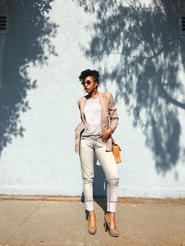 เสื้อสูท Vintage, เสื้อ Cotton On, กางเกงยีนส์ Forever 21, กระเป๋า Coach, รองเท้าส้นสูง Primark