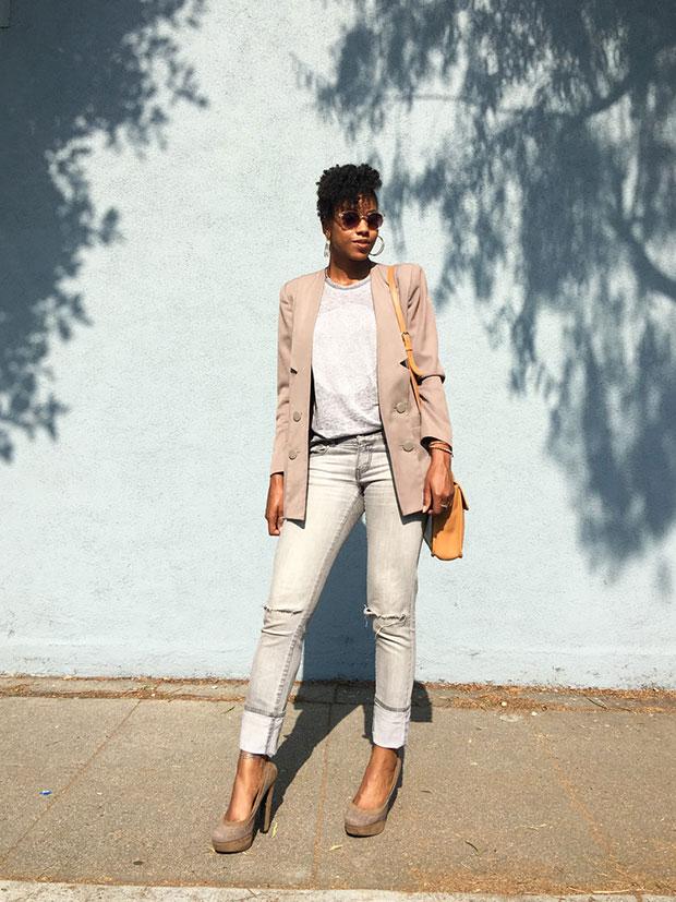 เสื้อสูท Vintage, เสื้อ Cotton On, กางเกงยีนส์ Forever 21, รองเท้าส้นสูง Primark, กระเป๋า Coach