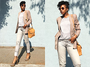 เสื้อสูท Vintage, เสื้อ Cotton On, รองเท้าส้นสูง Primark, กางเกงยีนส์ Forever 21, กระเป๋า Coach