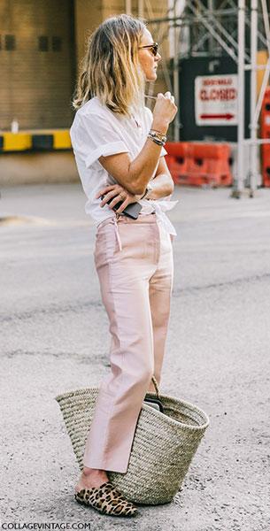 แฟชั่นสตรีทกับกางเกงสีชมพูอ่อน
