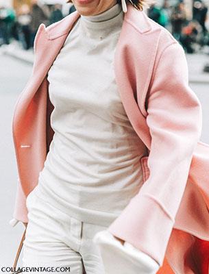 แฟชั่นสตรีทกับเสื้อโค้ทสีชมพูอ่อน