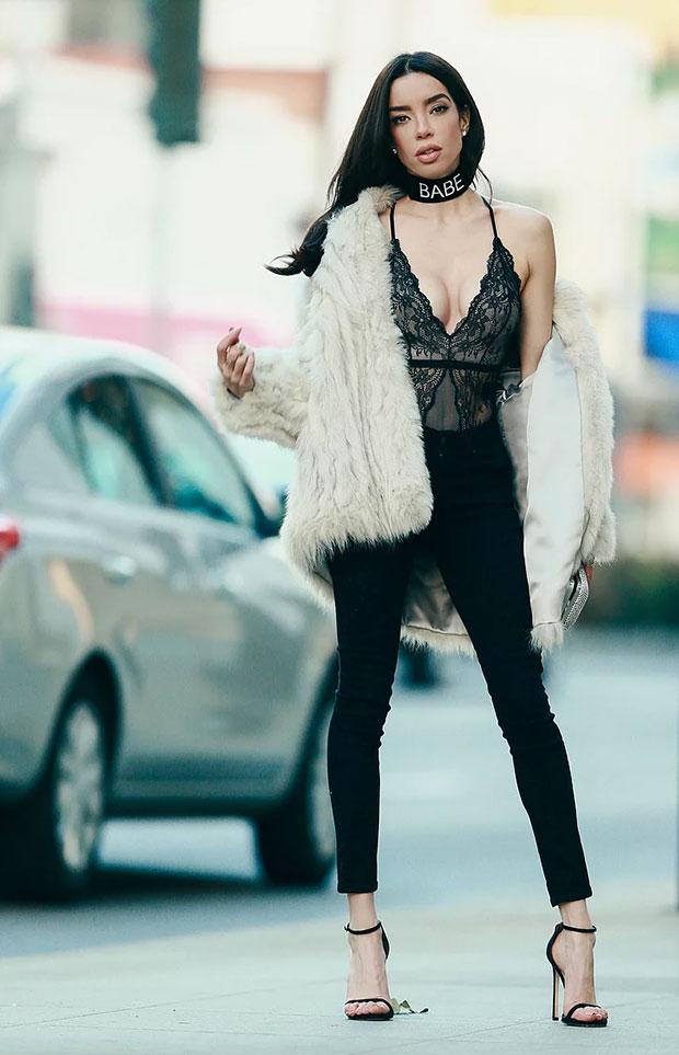 H&M Bodysuit, Levi's Jeans, Stuart Weitzman Heels, The Ime Label Choker