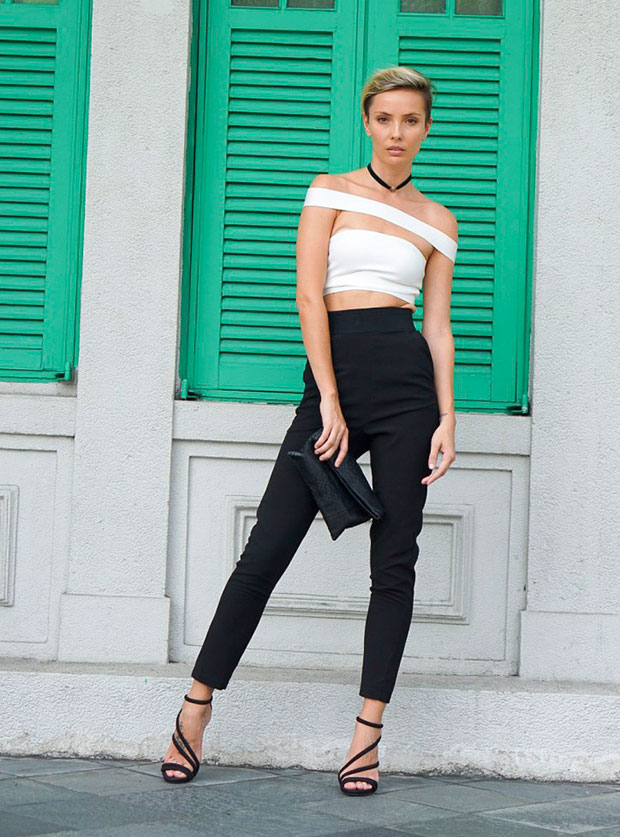 KatWalkLabel Top, Self Portrait Trousers, Aldo Shoes, Forever 21 Choker