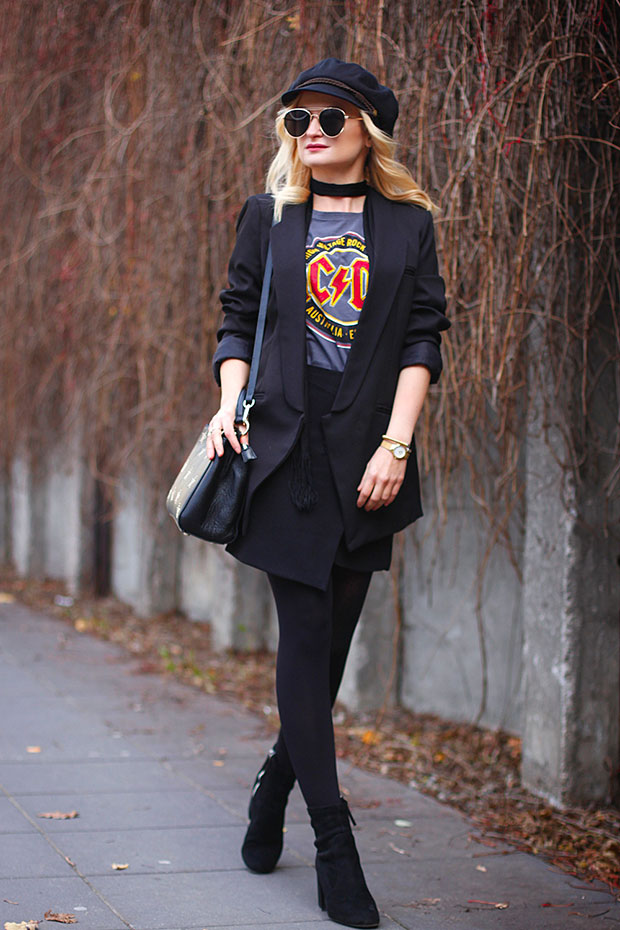 Romwe Blazer, Kik T Shirt, DressLily Skirt, Zara Boots, SuperDodatki Bag, TkMaxx Hat