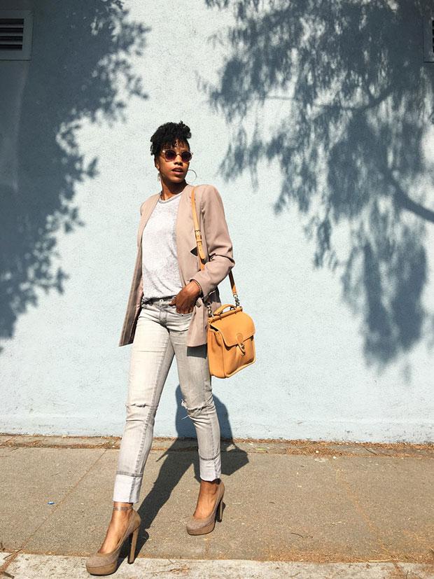Vintage Blazer, Cotton On Shirt, Forever 21 Jeans, Primark Heels, Coach Bag