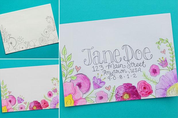 ซองจดหมาย DIY ดอกไม้กับสีน้ำ