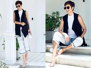 รองเท้าส้นสูง Aldo, เสื้อยืด Zara, แว่นตากันแดด Christian Dior