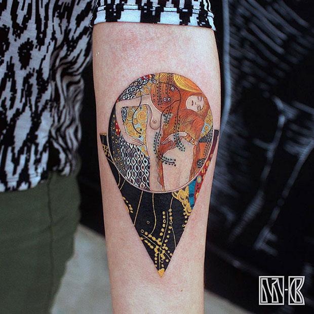 รอยสักเลียนแบบผลงานศิลปะของ Gustav Klimt
