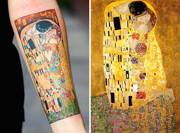 รอยสักเลียนแบบผลงานศิลปะแนวอีโรติกอันโด่งดังของ Gustav Klimt