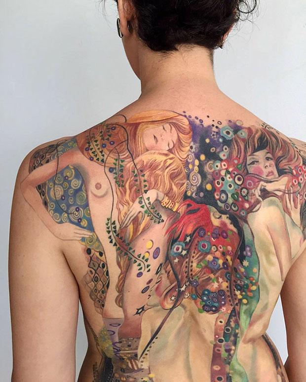 ลายสักผลงานศิลปะของ Gustav Klimt