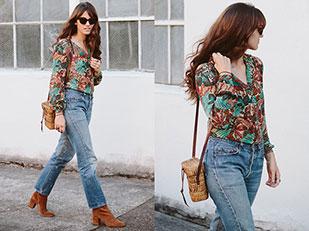 เสื้อ Vintage, กางเกงยีนส์ Levi's, กระเป๋า Vintage, รองเท้าบู๊ท Free People, แว่นตากันแดด Triwa