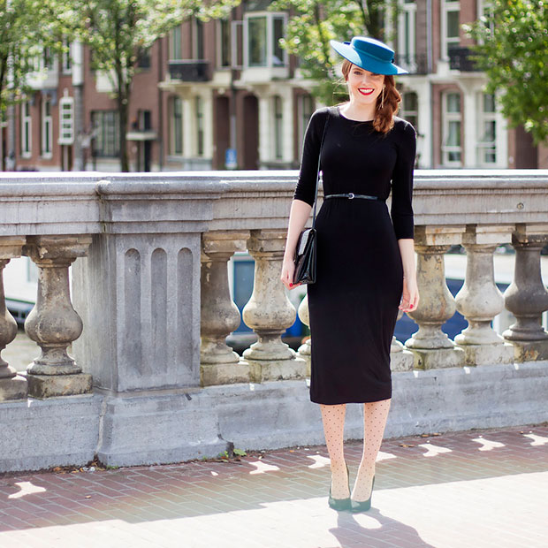 H&M Dress, Sacha Pumps, Vintage Bag, Vintage Hat, H&M Belt