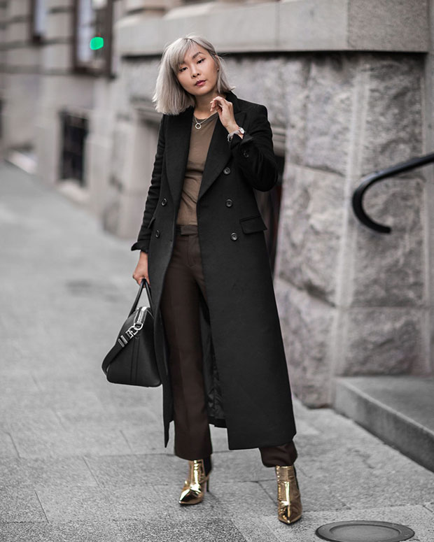 Uniqlo Coat, Isabel Marant T Shirt, Uniqlo Pants, Asos Boots, Givenchy Bag