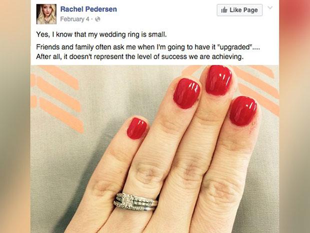 เป็นกระแสร้อนว่อนเฟซบุ๊ค แหวนหมั้นเพชรเม็ดจิ๋ว