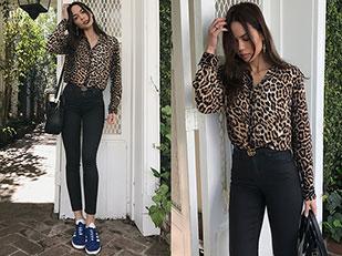 เสื้อเชิ้ต Vergegirl, กางเกงยีนส์ Topshop, รองเท้า Adidas, เข็มขัด Gucci, กระเป๋า Celine, ต่างหู Nialaya