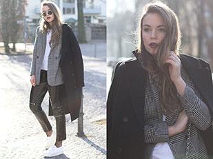เสื้อโค้ท Zara, เสื้อสูท H&M, เสื้อ Zara, กางเกง Zara, กระเป๋า DKNY, รองเท้า Superga, แว่นตากันแดด Ray Ban