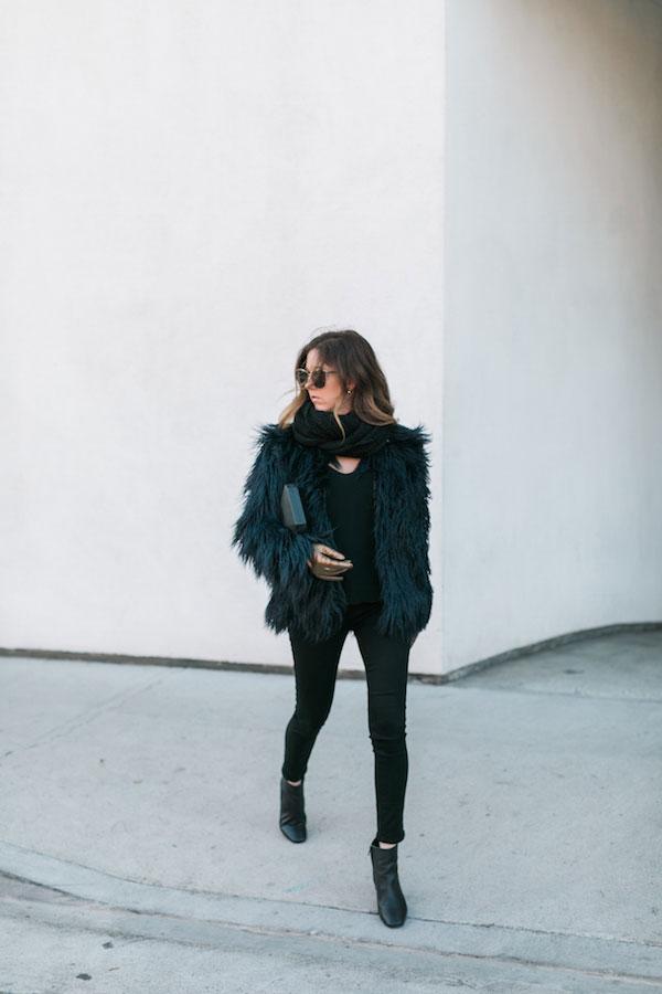 Sol Sana Heels, Olga Berg Clutch, Quay Sunglasses, Glove.ly Gloves, Paula Bianco Scarf