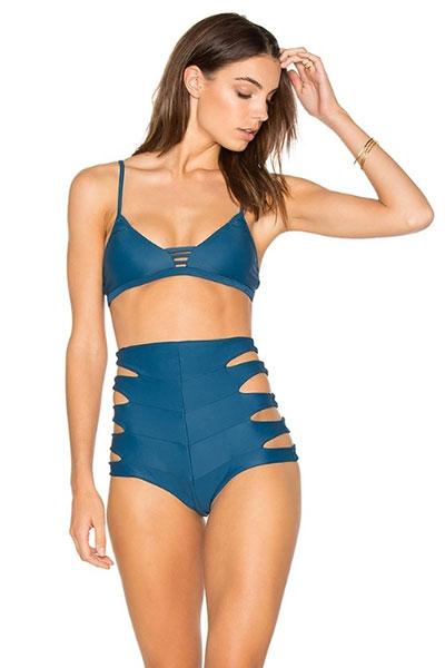 ชุดว่ายน้ำเอวสูงสีฟ้า