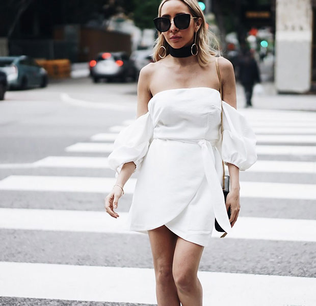 เดรส Haute & Rebellious, รองเท้า Zara, กระเป๋า YSL, แว่นตากันแดด Haute & Rebellious