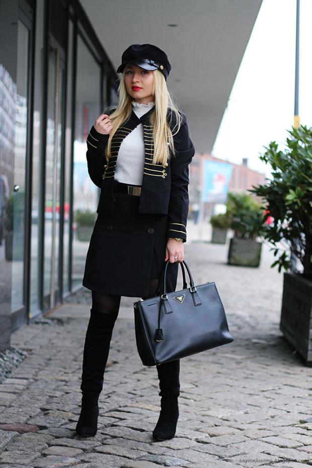 เสื้อสูท Shein, สเว็ตเตอร์ Primark, กระโปรง Missguided, กระเป๋า Prada, รองเท้า Milanoo