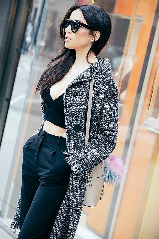เสื้อโค้ท Zara, เสื้อ Zara, กางเกง H&M, กระเป๋า Cocovann, รองเท้าส้นสูง Zara, แว่นตากันแดด Céline