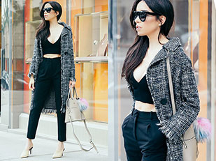 เสื้อโค้ท Zara, เสื้อ Zara, กางเกง H&M, รองเท้าส้นสูง Zara, แว่นตากันแดด Céline, กระเป๋า Cocovann