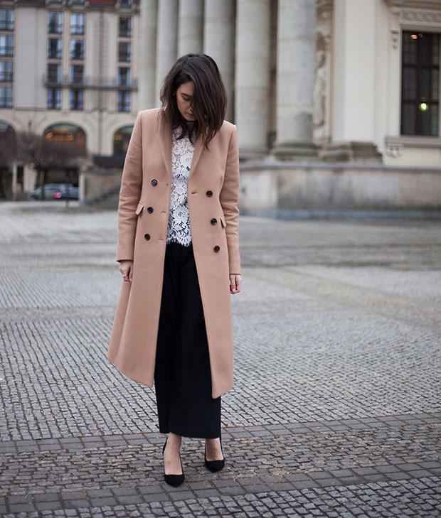 Ivy&Oak Coat, Ivy&Oak Top, Zara Culottes, Zign Shoes