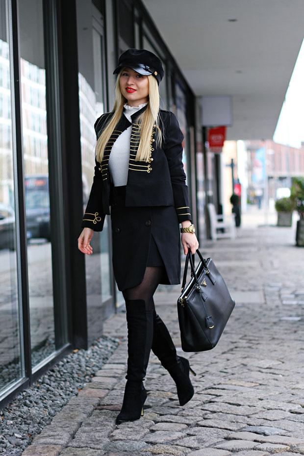 Shein Blazer, Primark Sweater, Missguided Skirt, Milanoo Shoes, Prada Bag