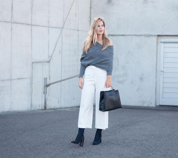 Shein Knit, Zara Culottes, Mango Boots, Mango Bag
