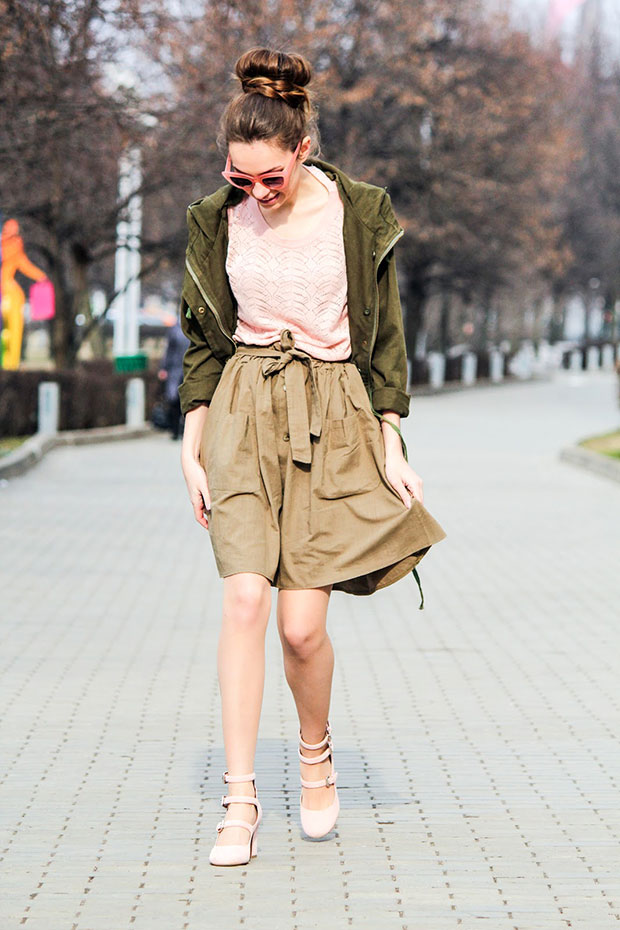 Shein Parka, Mango Jersey, Romwe Skirt, Tabitha Simmons Shoes, Asos Sunglasses