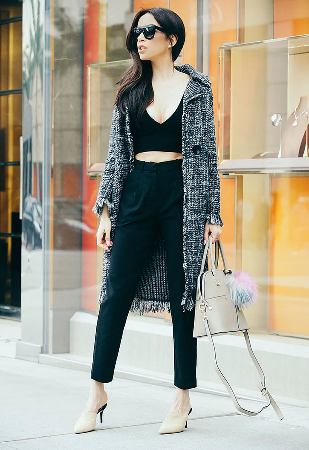 Zara Coat, Zara Top, H&M Pants, Zara Heels, Cocovann Bag, Céline Sunglasses