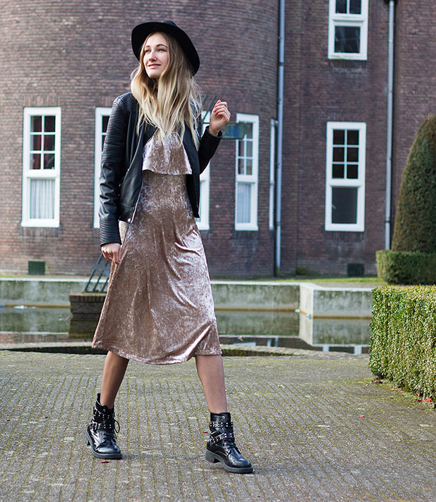Zara Jacket, Warehouse Dress, Asos Boots, H&M Hat, Lamoda Choker
