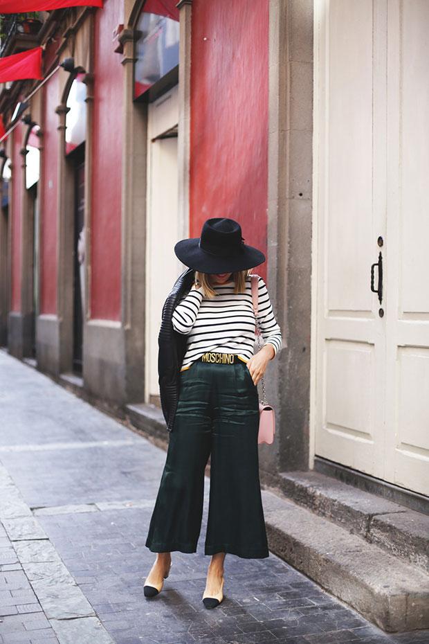 Zara Top, Bershka Culotte, Chanel Shoes, Louis Vuitton Bag, Moschino Belt
