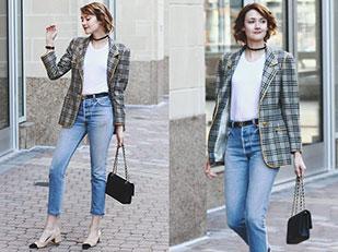 เสื้อสูท Ungaro, เสื้อยืด Reformation, รองเท้าส้นสูง Zara, กางเกงยีนส์ Re Done, กระเป๋า Chanel