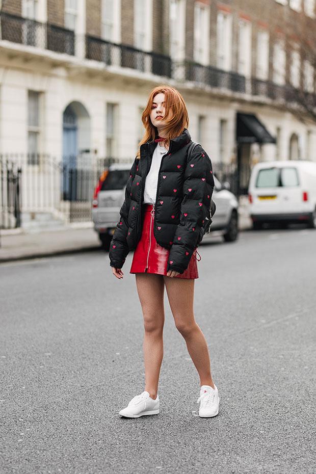 Lazy Oaf Jacket, Goodhood T Shirt, Zara Skirt, Reebok Trainers, Urban Outfitters Bag, eBay Choker