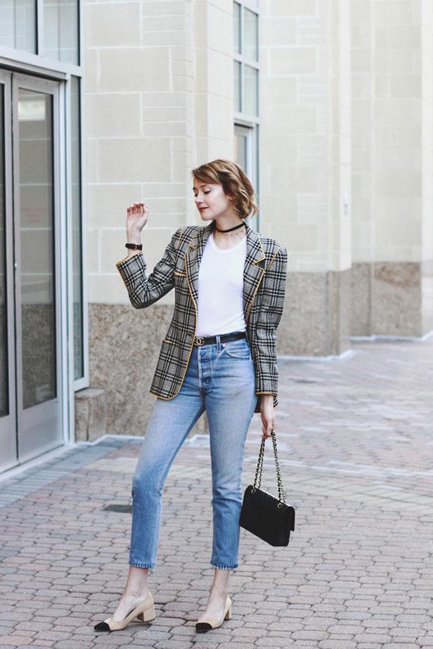 Ungaro Blazer, Reformation T Shirt, Re Done Jeans, Zara Heels, Chanel Bag