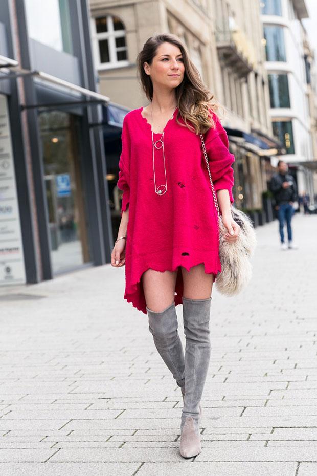 Zara Pullover, Stuart Weitzman Boots, Zara Necklace
