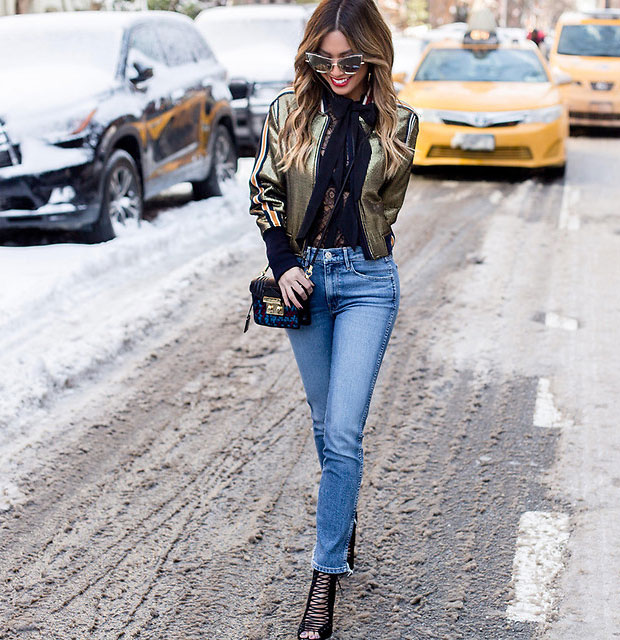 BCBG Bomber, Equipment Blouse, 3x1 Jeans, Kendall + Kylie Boots, Juicy Couture Bag