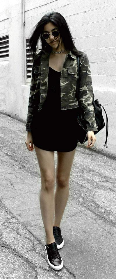 Charlotte Russe Jacket, Urban Outfitters Dress, Greats Sneakers, Stella McCartney Backpack