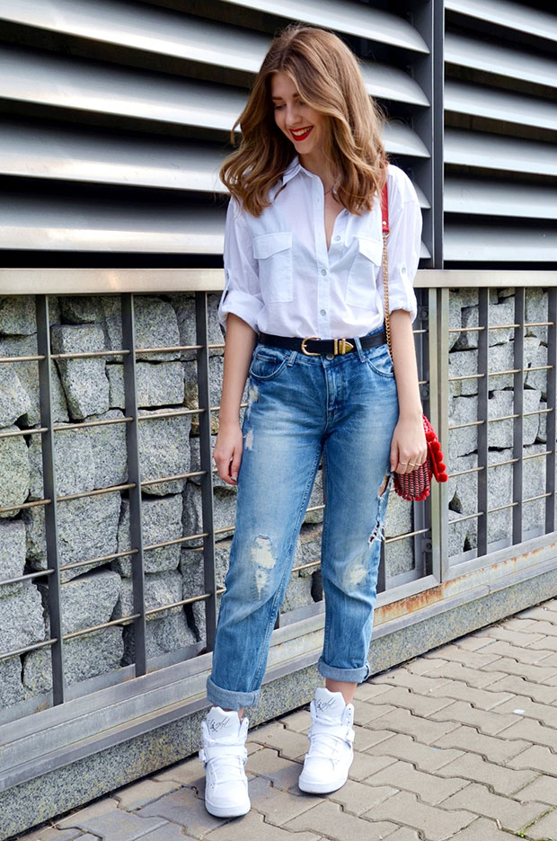 Rag&Bone Shirt, Tally Weijl Jeans, Nike Sneakers, Zara Bag, Tally Weijl Belt