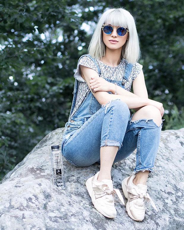 ชุดเอี๊ยม Zara, แว่นตากันแดด La Petite Lunette Rouge, รองเท้า Puma