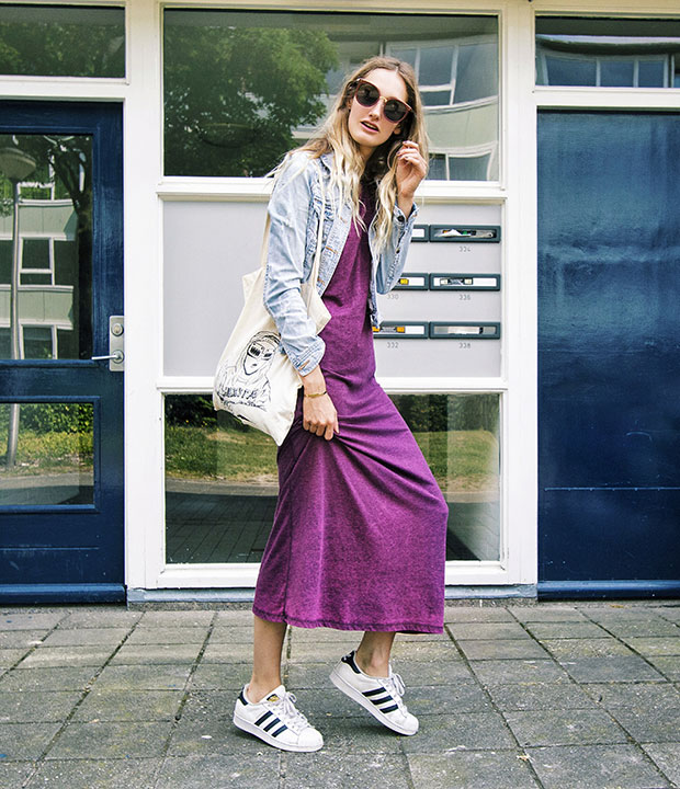 Bershka Jacket, Asos Dress, Adidas Sneakers, Fleur Bekke Bag, Sammydress Sunnies