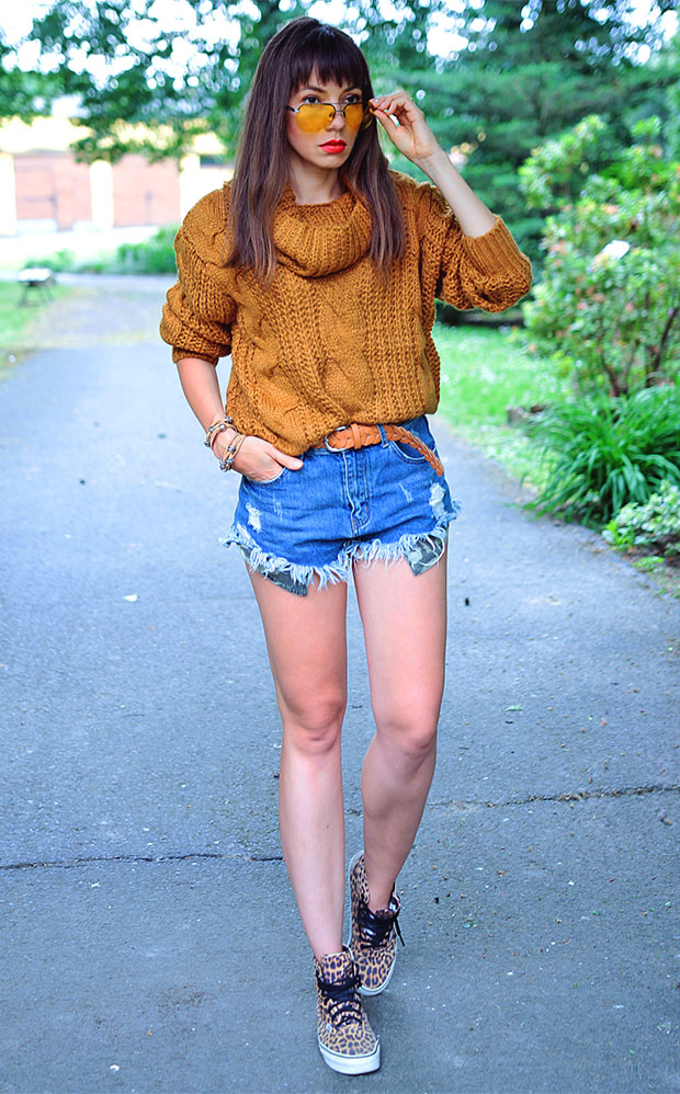 Chicloth Sweater, Style Moi Shorts, Vans Shoes