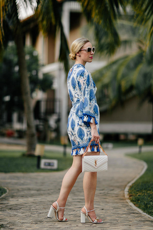 รอมเปอร์ Shein, รองเท้า Gucci, แว่นตากันแดด Dior, กระเป๋า Saint Laurent
