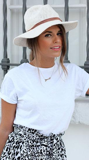 เสื้อยืดสีขาวกับกางเกงขาสั้นและหมวกปานามา